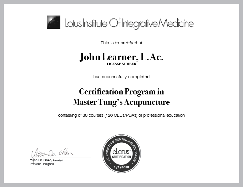 Lotus Certification Program Master Tungs Acupuncture